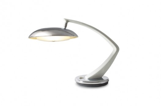 FASE 'Boomerang 64' Lamp in white and chrome, circa 1965–1970. Features an articulating head and a base that swivels 360 degrees.