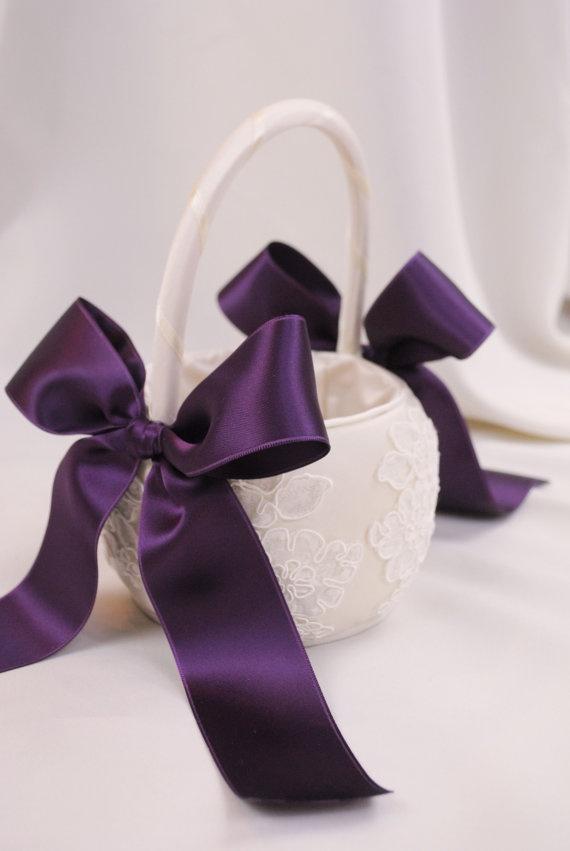 Purple Flower Girl Basket Purple and Ivory by weddingsandsuch, $40.00
