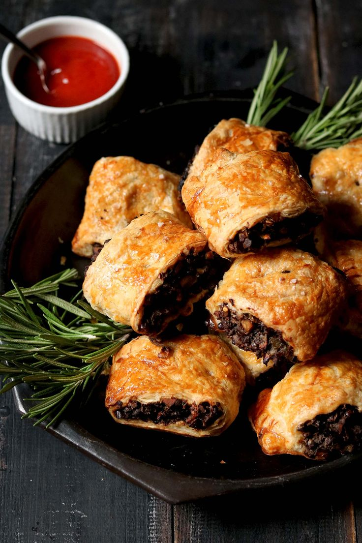 Delicious vegetarian sausage rolls made with mushrooms, lentils and chestnuts. Perfect for entertaining over the holidays.