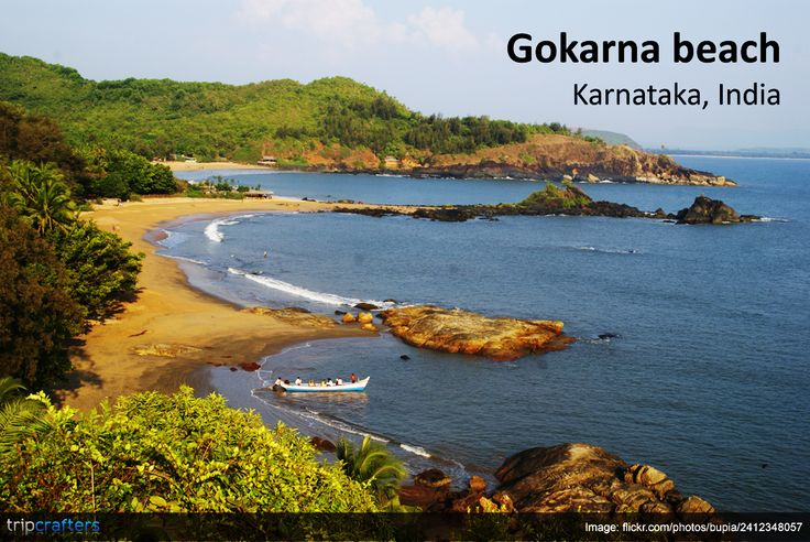 Gokarna beach is a place with no dearth of scenic beauty. It is bound by rocky mountains and the Western Ghats on one side and the Arabian Sea on the other. The beach is quiet, peaceful and a favourite among travelers. Check out other places to visit in #Gokarna. #TravelToIndia | #Karnataka