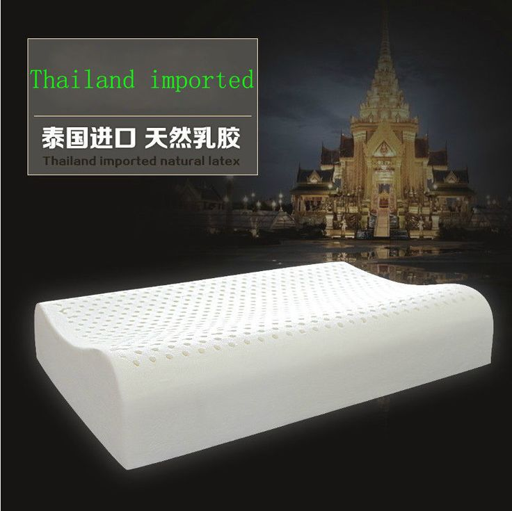 100% Thailand Imported Natural Latex Foam Neck Bed Standard Pillow 60X40X12Cm