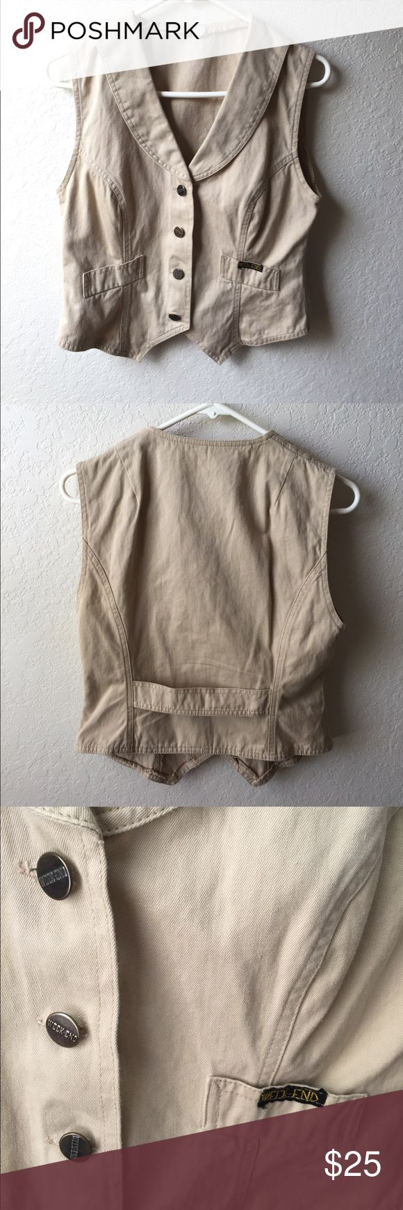 Weekend vintage denim khaki beige vest Weekend vintage denim beige vest, bought in Europe, size 44, will fit us S. Interesting vintage piece, will look great with white shirt or top. Good condition. No trades! Bundle to save! Vintage Jackets & Coats Vests