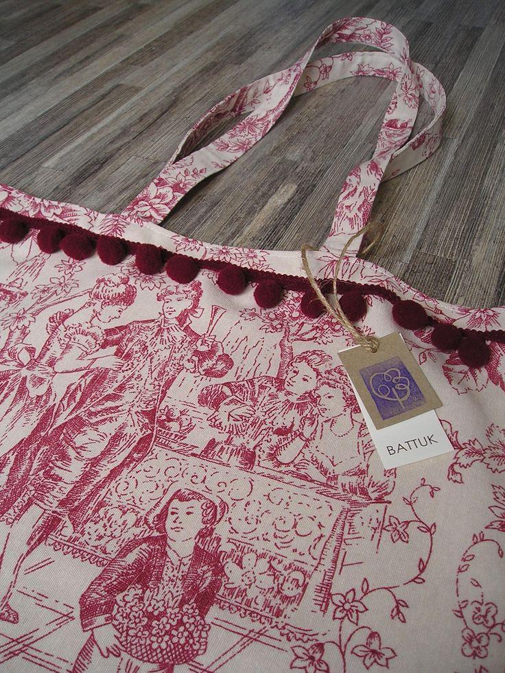 Bolso de loneta diseño Toile de Jouy  http://battuk.blogspot.com.es