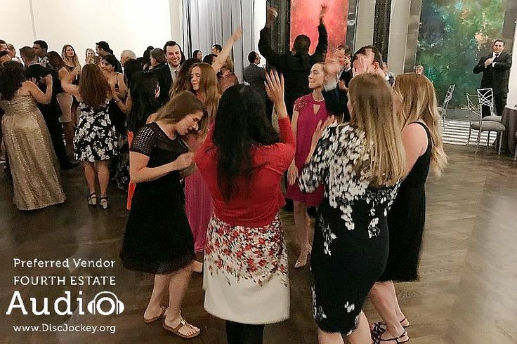 An enthusiastic dance crowd at Roberto and Jenna's wedding celebration at 19 East. #DJsInChicago http://www.discjockey.org/real-chicago-wedding-june-24-2017/