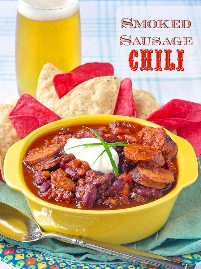 Smoked Sausage Chili Simple Smoky And Totally Delicious Recipe In 2020 Sausage Chili Smoked Sausage Mexican Food Recipes