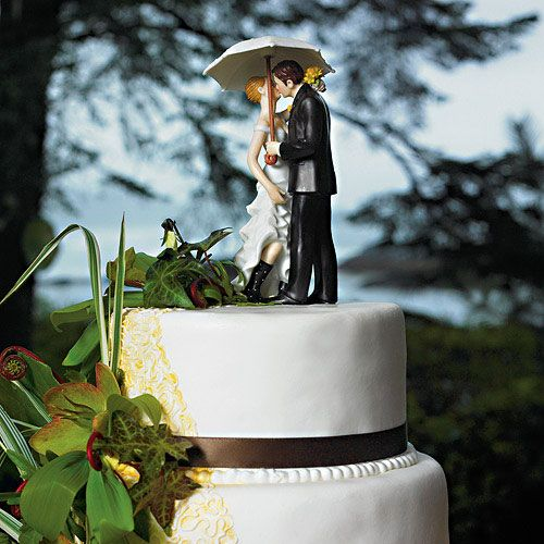 Showered with Love Couple Figurine Wedding Cake Toppers from HotRef.com #weddingcaketopper