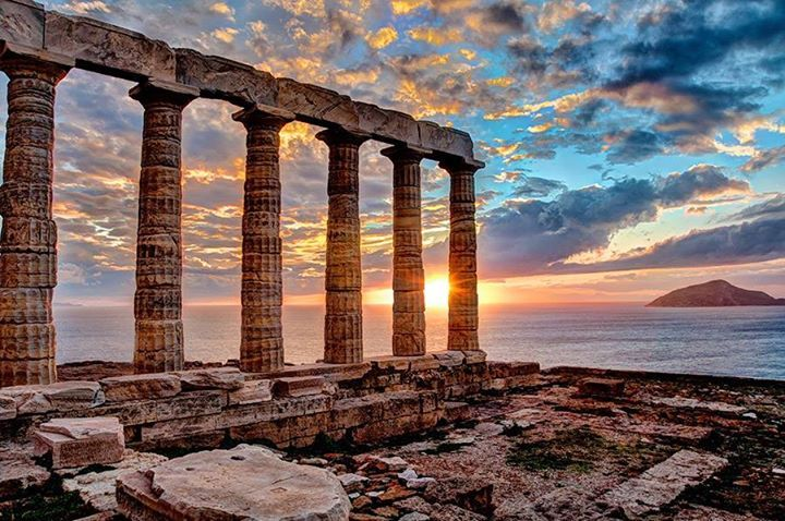 Cloudy sunset. ~ Cape Sounio