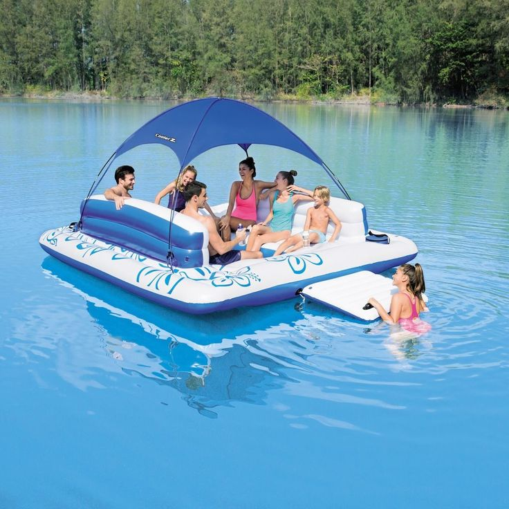 Inflatable Floating Island Lounge Sun Shade Raft Pool Cooler Camp Cottage Lake #InflatableFloatingIsland