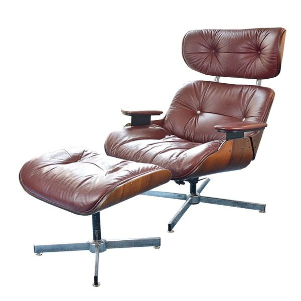 Mid-Century Modern Eames Style Lounge Chair And Ottoman By Doerner Faultless