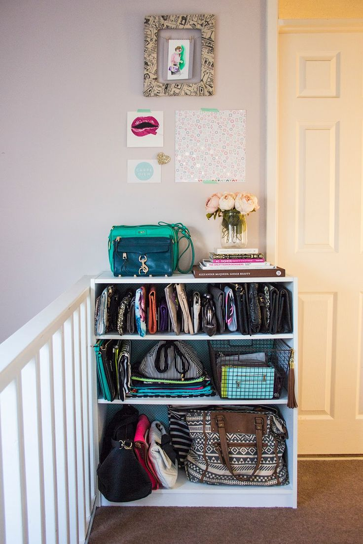 A dresser with a variable shelf heights allow clutches to stand at attention and gives totes room to breathe, too. See more at Live it  Love it  Make it »  - GoodHousekeeping.com