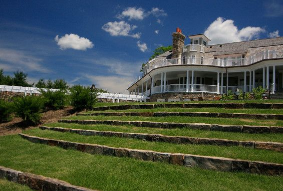 Steeple Chase Farms | Greenwich, USA | Conte & Conte #landscape #architecture  #white #green #lawn #steps #terraces