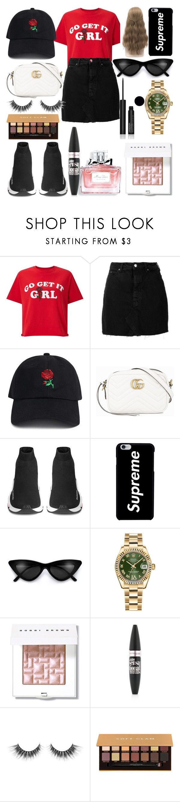 """""""Untitled #278"""" by anguema03 ❤ liked on Polyvore featuring Miss Selfridge, IRO, 21 Men, Gucci, Balenciaga, Rolex, Christian Dior, Bobbi Brown Cosmetics, Maybelline and Anastasia Beverly Hills"""