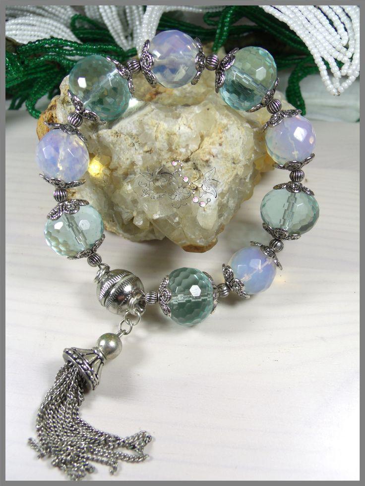Bracelet de créateur en opal, verre de bohème et métal