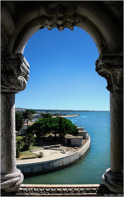 through the window of the Belém forth #Lisbon, #Portugal