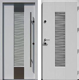 Drzwi wejściowe z aplikacjami inox model 440,1-440,11+ds3 w kolorze białe