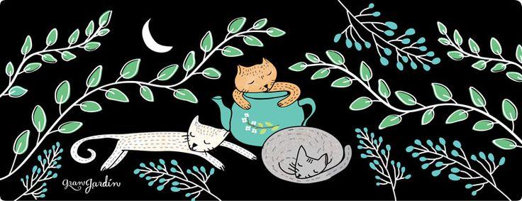 #Tama-iris #cats #sleepingcat #sweetdreams #plants #night #moon #draws #granjardin #illustration