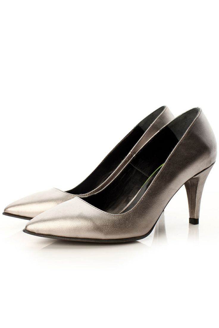 Pantofi toc piele argintie
