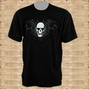 A skull T shirt with a white embossed skull on a tribal background on a mens black T shirt. The Tribal 7 T shirt by Omen clothing in the Skulls and Dragons clothing range.    Made from cotton    Ref : SDBBG417   Price : 34.99 GBP