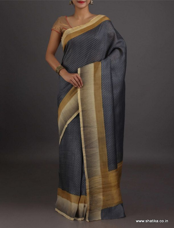Daminidainty Dots Distinct Border #GeorgetteSilkSaree