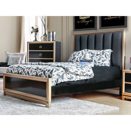 Furniture of America Baylor Contemporary California King Bed, Black & Gold