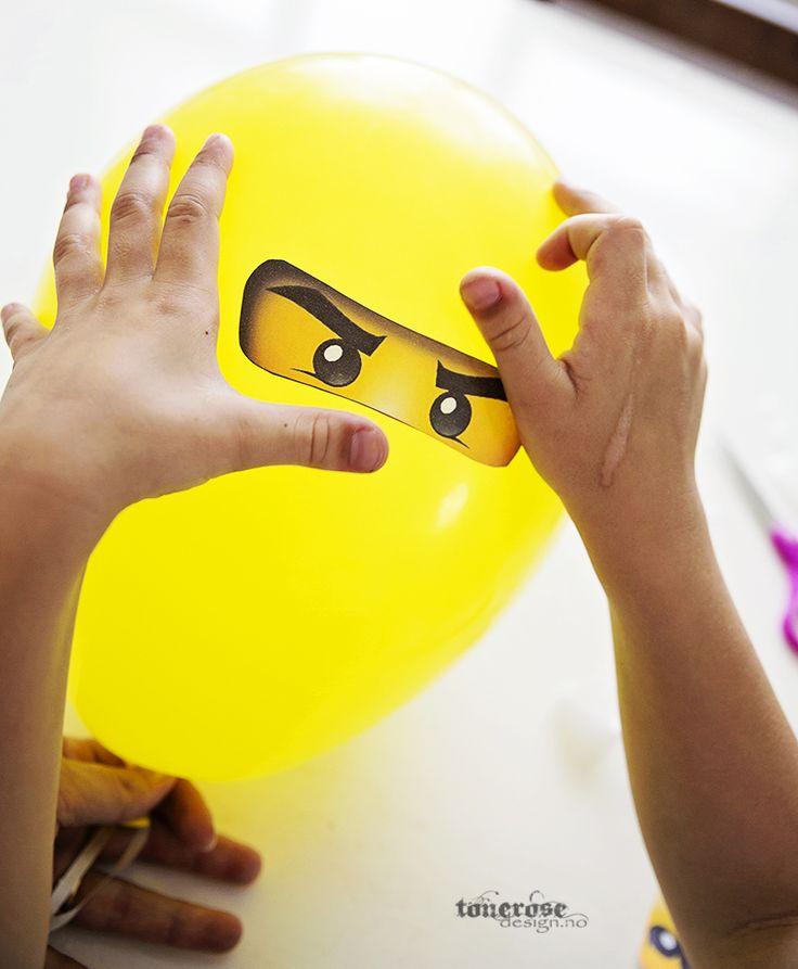 Ninjago balloons diy free printable  Gratis print klistremerker øyne ninja til ballonger