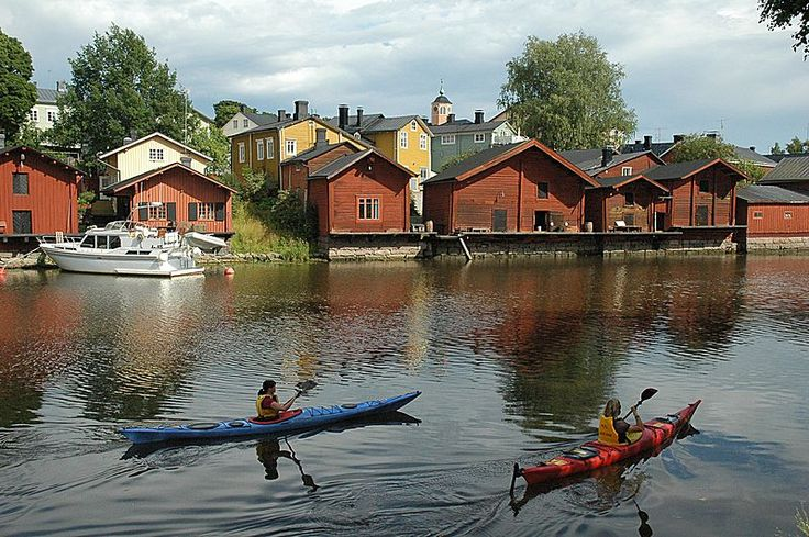 Kayaking past the Old Town, Porvoo, Finland