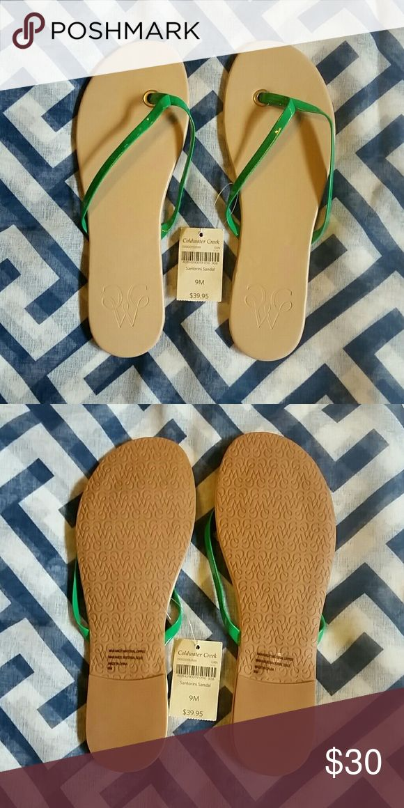 Santorini Sandal Green, Santorini Sandal, Dressy Flip-flop, Man Made Materials Coldwater Creek  Shoes Sandals