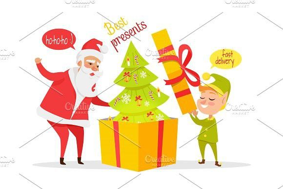 Delivering Christmas Presents Vector Concept . Greeting