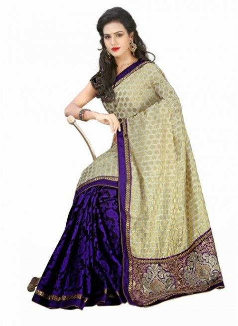 Splendid Purple & Offwhite Jacquard #Saree With Heavy Palla