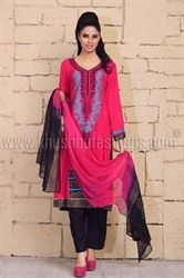 Picture of Pink and Black Kameez and Trousers
