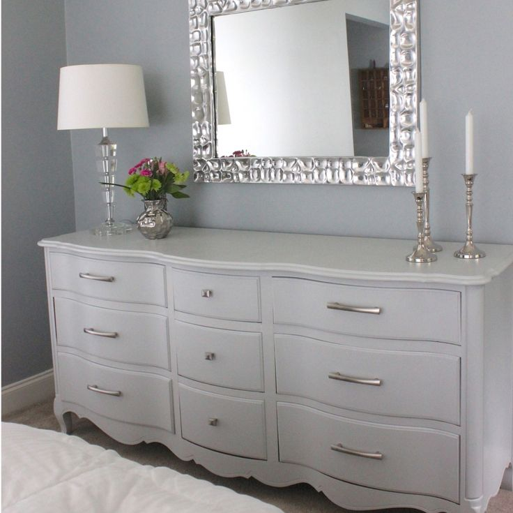 Big Grey Dresser-005a | TheHomesIHaveMade | Flickr. (Idea to modernize Marisas dresser with silver pulls and silver mirror and modern accessories