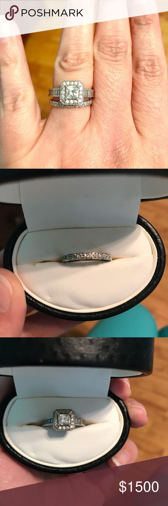 1 Carat Diamond Engagement Ring and Band, size 6 1 Carat Diamond Engagement Ring with halo of solitaire diamonds and diamond baguettes on each side. The wedding band is Tacori. Both are a size 6. Tacori Jewelry Rings