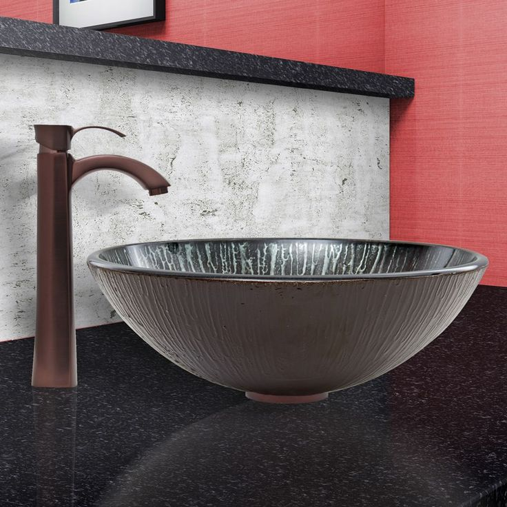 vigo enchanted earth glass vessel sink and otis faucet set in oil rubbed bronze vigo - Glass Vessel Sinks