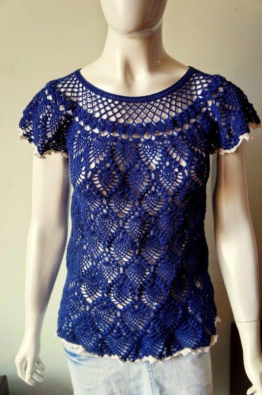 Miss Flor Croche: Blusa abacaxi azul marinho