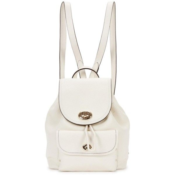 Womens Backpacks Coach Mini Cream Leather Backpack ($400) ❤ liked on Polyvore featuring bags, backpacks, white backpack, leather rucksack, leather knapsack, leather daypack and genuine leather backpack