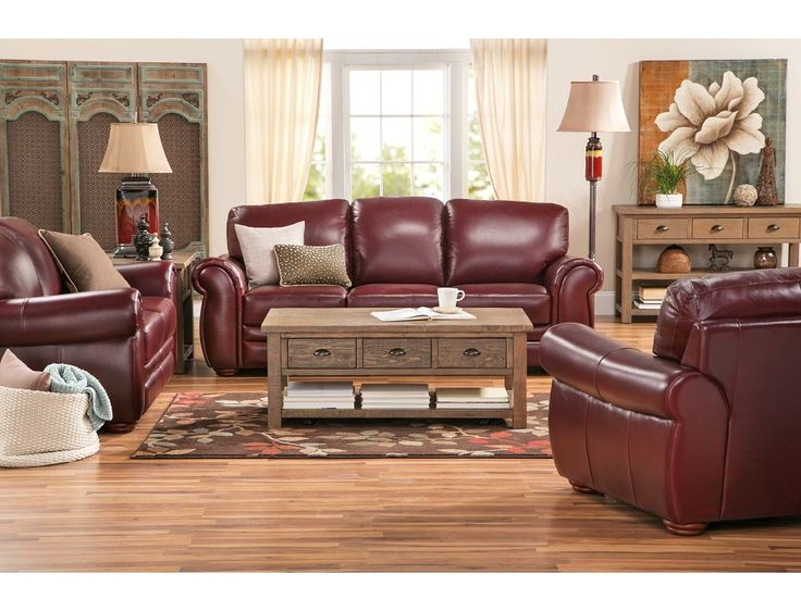 For a sleek and polished look  Gallery Burgundy Sofa  Leather Love in 2019  Living room decor