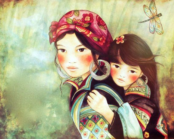 madre e hija arte de la gente de Vietnam Hmong impresión 8 x 10 o más pulgadas