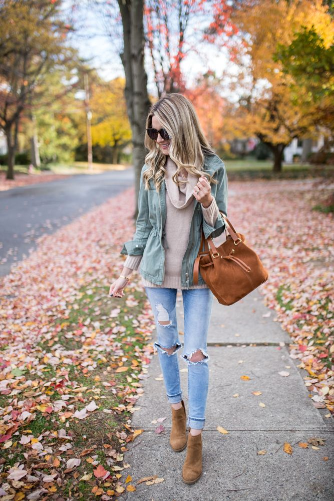Sharing this easy, throw on & go fall look with Nordstrom! Talking about this Utility Jacket + Cowl Neck Sweater today and why they are my favorites!