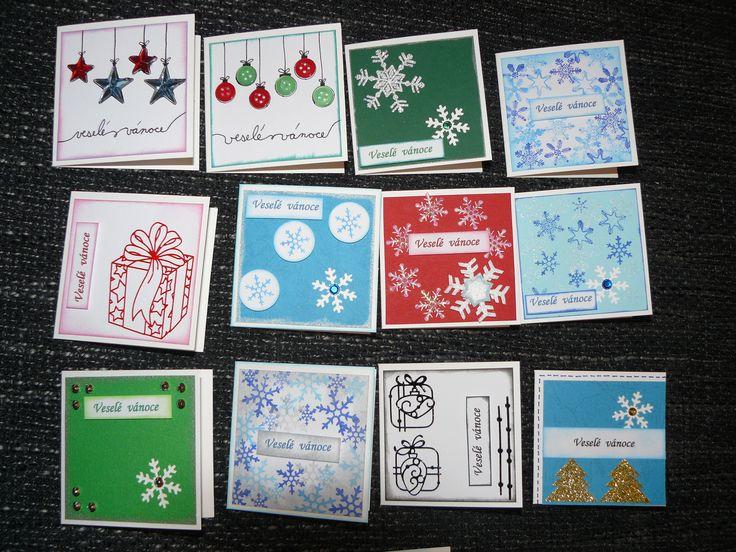 vánoční mini přáníčka na školní trh - christmas litle cards for school trade