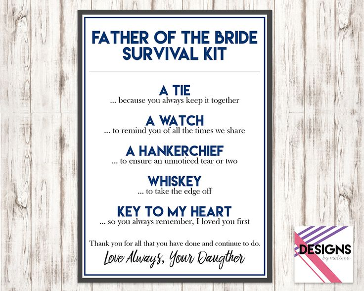 Father of the Bride Survival Kit  Navy Blue Wedding