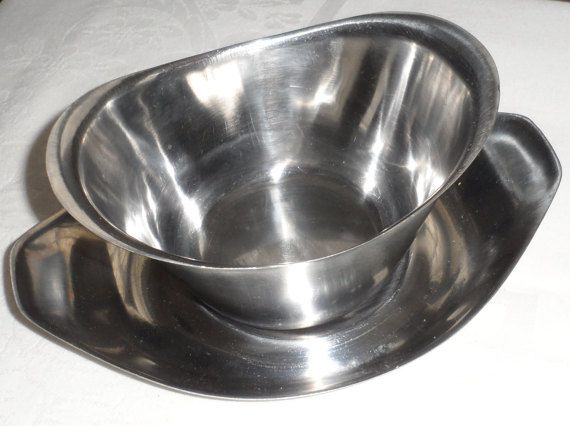 Mid Century Stainless Steel Gravy Boat with Drip Pan/ by BYGONERA