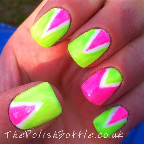 Neon Gelish Triangles by Glowstars - Nail Art Gallery  nailartgallery.nailsmag.com by Nails - 94 Best Neon Nail Art Images On Pinterest Neon Nail Art, Neon