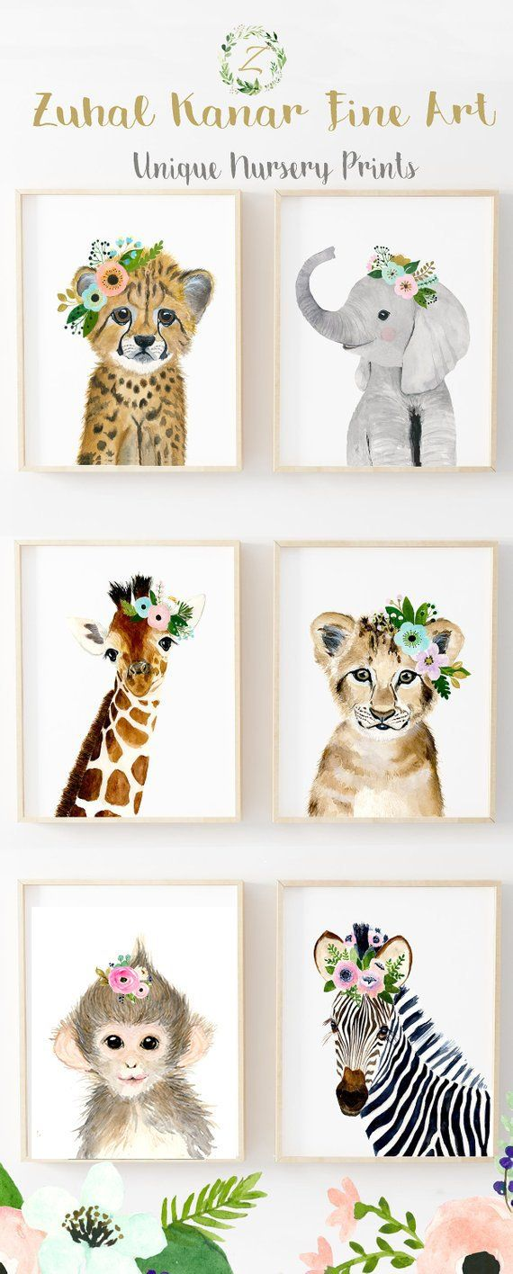 Floral Safari Animals, Nursery Print Set Of 6, Safari Nursery Art Prints, Animal Art, Baby Elephant, Giraffe, Monkey, Cheetah, Lion, Zebra