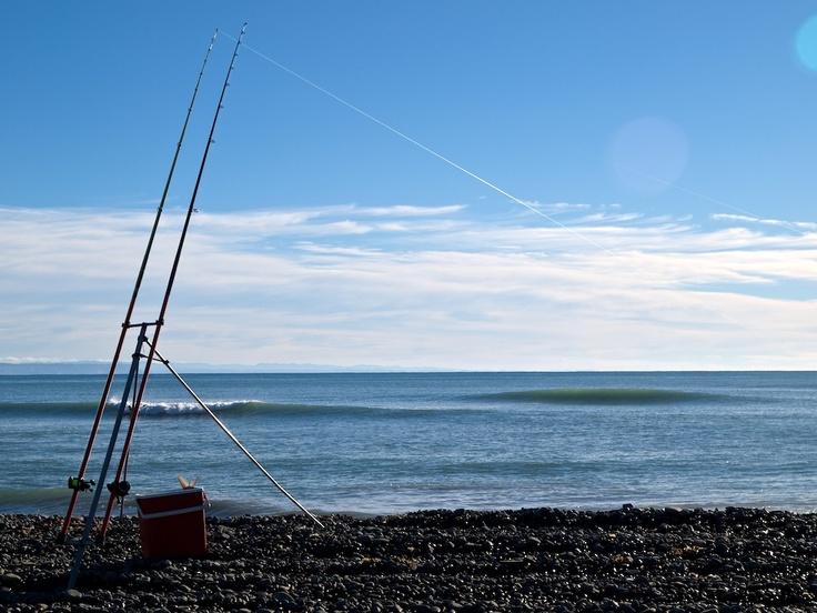Surfcasting at Te Awanga, Hawke's Bay, New Zealand. A 2.9 kg blue moki is in the bin.