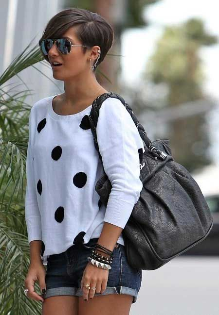 25 Charming Celebrity Short Haircuts: #1. Frankie Sandford's Very Lovely and Charming Pixie Cut with Side-swept Bangs