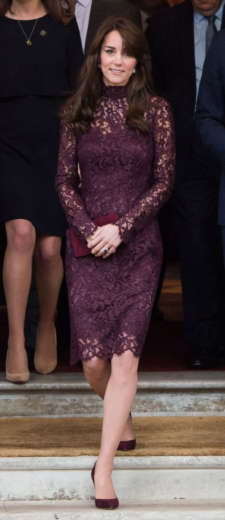 Kate Middleton Wears Lace Dolce & Gabbana Dress - to the Lancaster House in London, England, to help welcome Chinese President Xi Jinping, and his wife, Madame Peng Liyuan, to Creative Collaborations: UK & China last week - 10/21/2015
