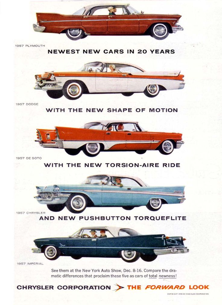 "The 1957 ""Forward Look"" cars of Chrysler Corporation: Plymouth, Dodge, DeSoto, Chrysler, Imperial. ""Newest New Cars in 20 Years... With the New Shape of Motion... With the New Torsion-Aire Ride... And New Pushbutton Torqueflite... See Them All at the New York Auto Show Dec 8-16."""