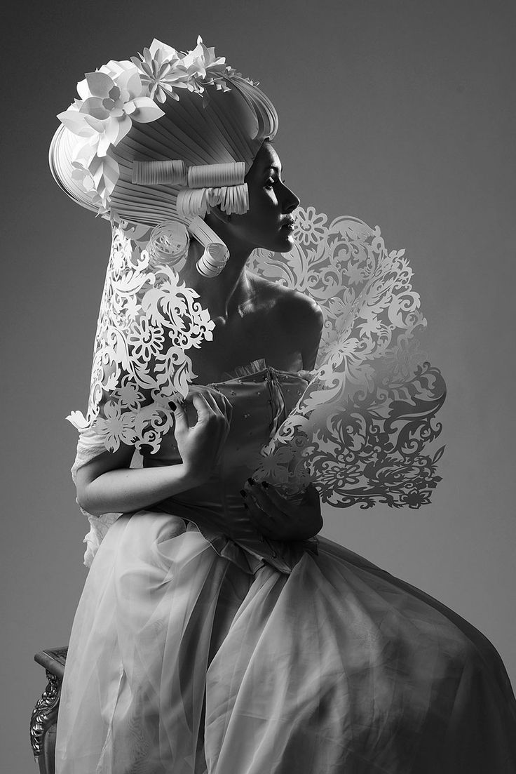Russian artist Asya Kozina creates elegant baroque wigs and dresses from paper