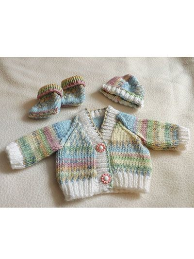 Knitting - Patterns for Children & Babies - Gift Set Patterns - Easy Baby Cardigan, Hat and Booties