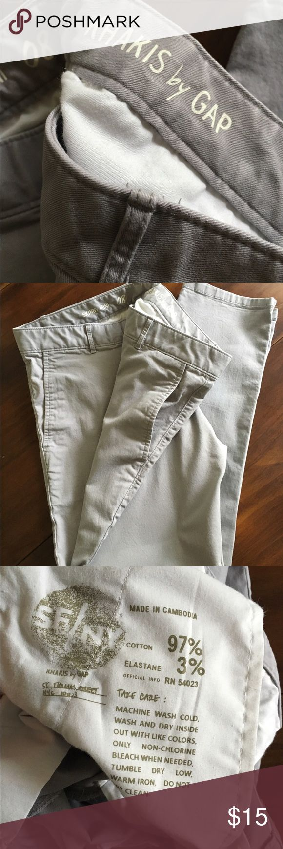 Gap Khakis Skinny Mini Gap Khakis Skinny Minis. Gray. 97 % cotton. They are marked 8 but I'm a 4 and they fit me perfectly. GAP Pants